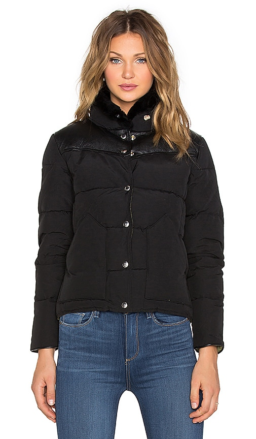 Penfield Rockwool Leather Yoke Down Jacket in Black