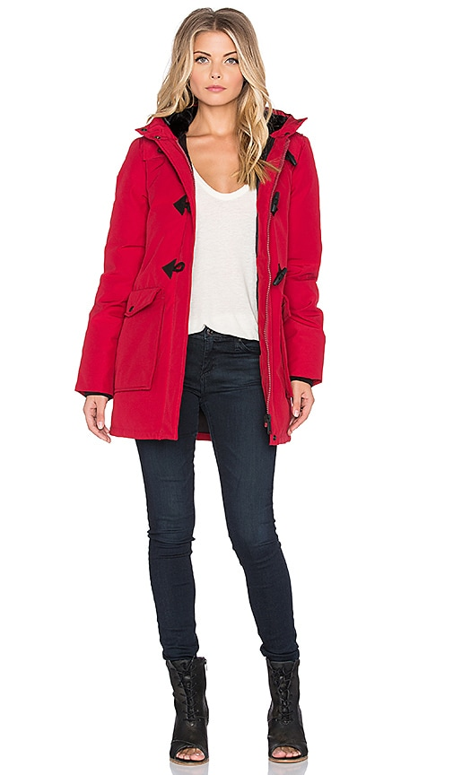 Penfield Kelsey Long Down Insulated Duffle Jacket in Red