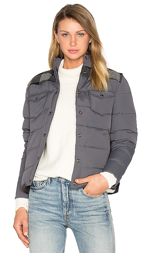 Penfield Rockford Plaid Yoke Down Jacket in Grey