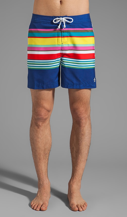 Stripe Fixed Waist Volley Swim Short