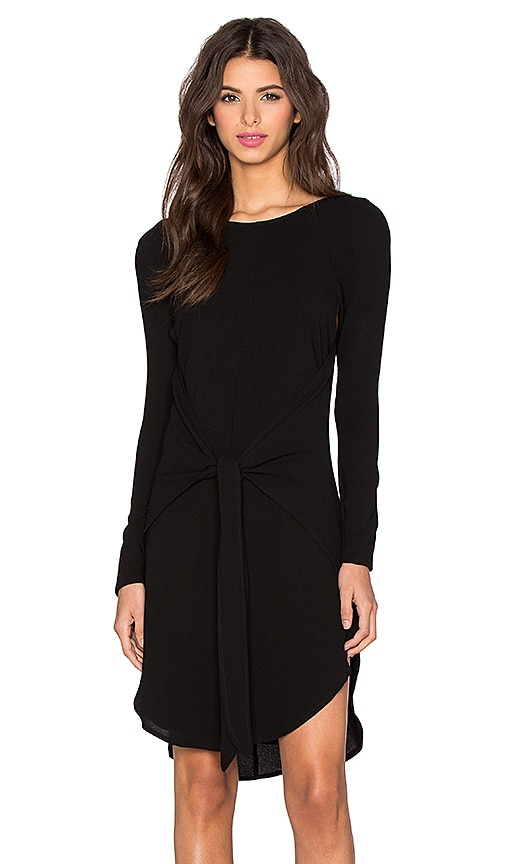 PFEIFFER New Wave Long Sleeve Wrap Dress in Noir