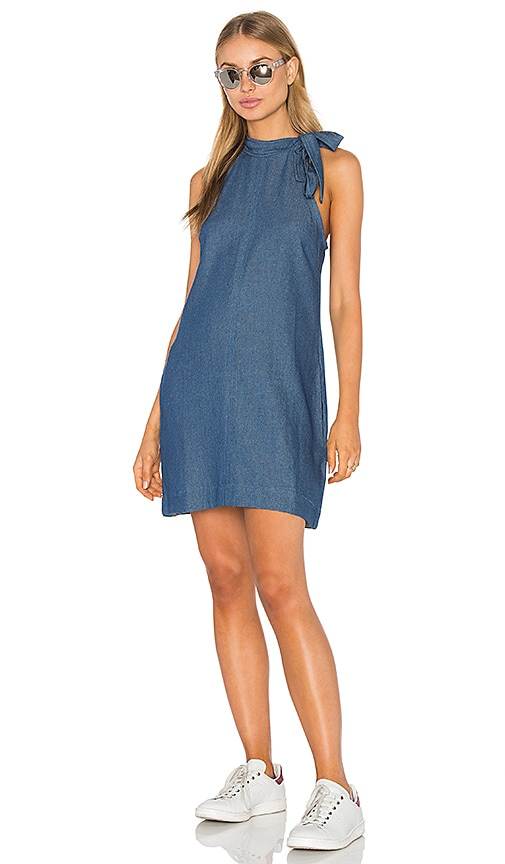 PFEIFFER Yianni Tie Dress in Pure Denim