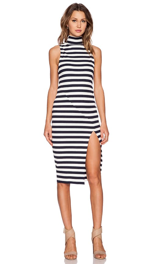 PFEIFFER Mondrian Ribbed Dress in Indigo & White