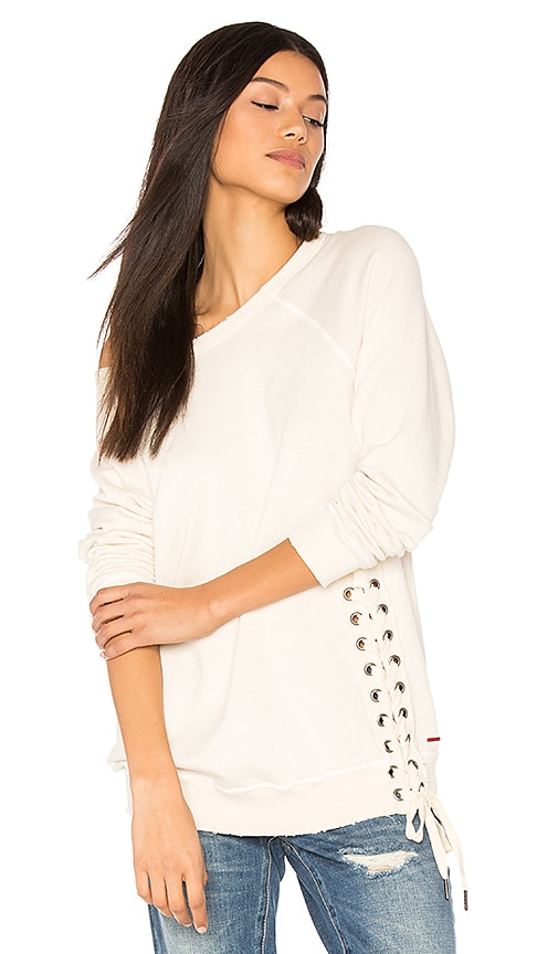 n:PHILANTHROPY Mika Lace Up Sweatshirt in Cream