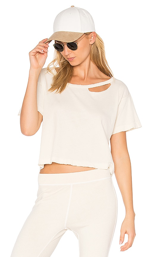 n:PHILANTHROPY Codie Distressed Crop Tee in Ivory