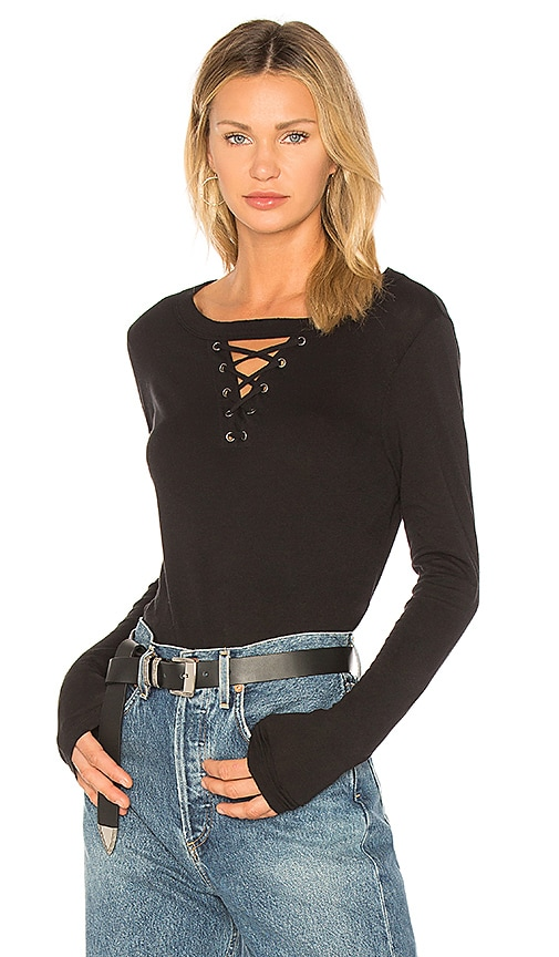 n:PHILANTHROPY Thorn Lace Up Long Sleeve Top in Black