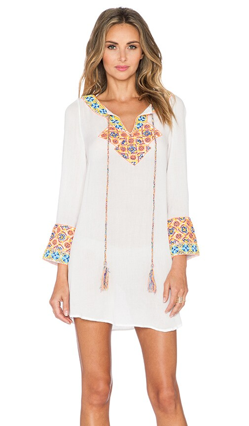 Pia Pauro Embroidered Dress in White