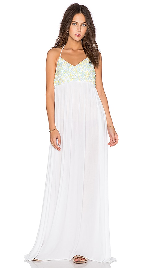 Embroidered Yoke Halter Dress