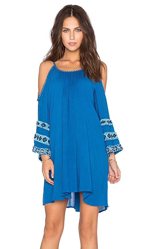 Pia Pauro Embroidered Tunic in Blue
