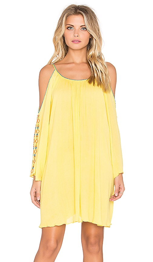 Pia Pauro Cold Shoulder Embroidered Mini Dress in Yellow