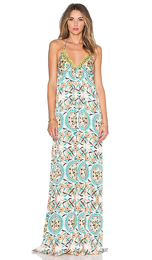 Pia Pauro Patterned Maxi Dress in White
