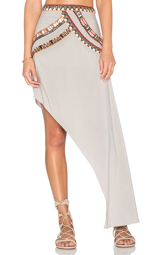 Pia Pauro One Sided Drape Skirt in Storm