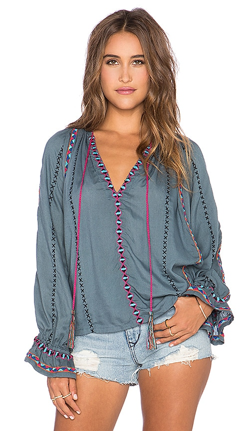 Pia Pauro Long Sleeve Embroidered Peasant Top in Gray