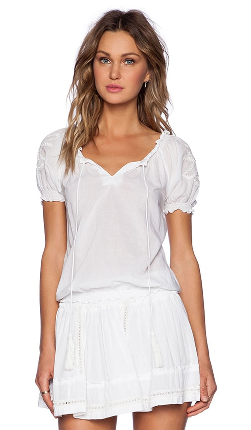 Pia Pauro Ladies Embroidered Sleeve Top in White