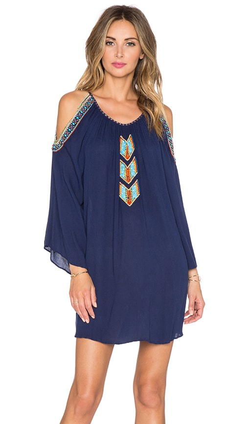 Pia Pauro Open Shoulder Embroidered Tunic in Navy