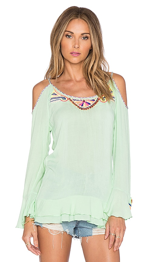 Pia Pauro Embroidered Top in Green