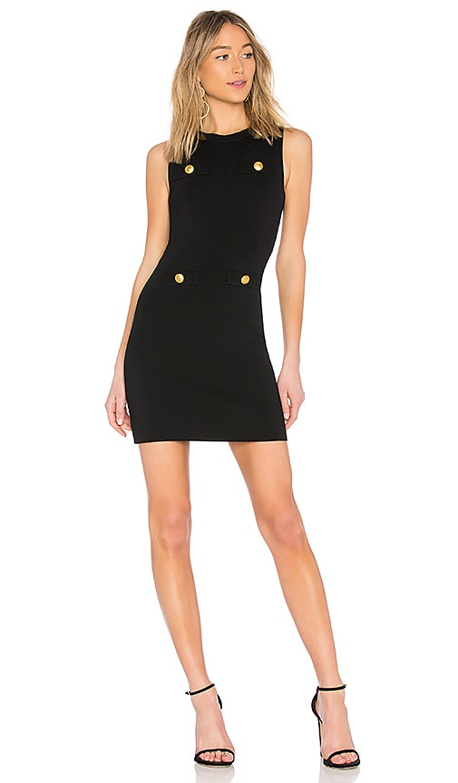 Pierre Balmain Button Pocket Mini Dress in Black