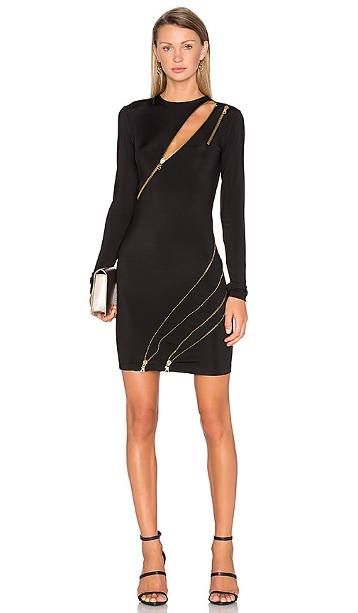 Pierre Balmain Long Sleeve Zipper Dress in Black