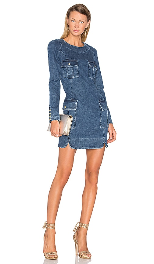 Pierre Balmain Long Sleeve Denim Dress in Blue Denim