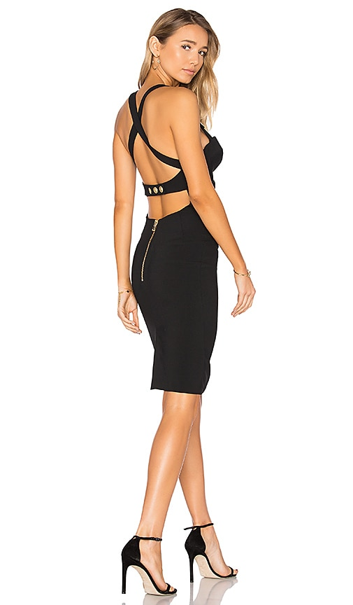 Pierre Balmain Cross Back Midi Dress in Black