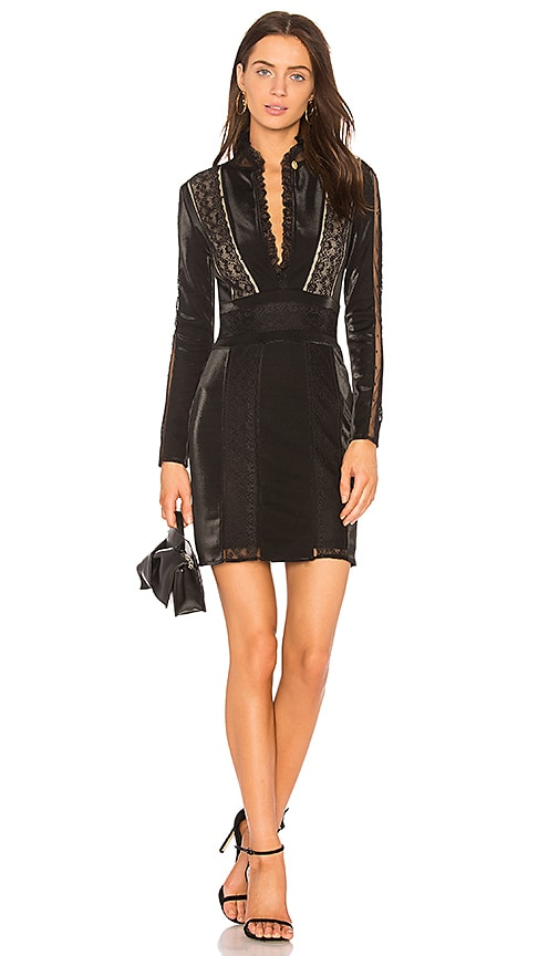 Pierre Balmain Lace Ruffle Neck Dress in Black