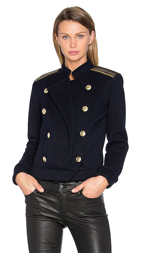 Pierre Balmain Military Sweater in Blue