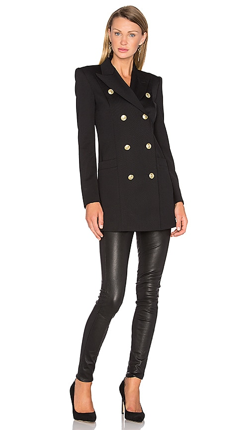Pierre Balmain Button Military Trench Coat in Black