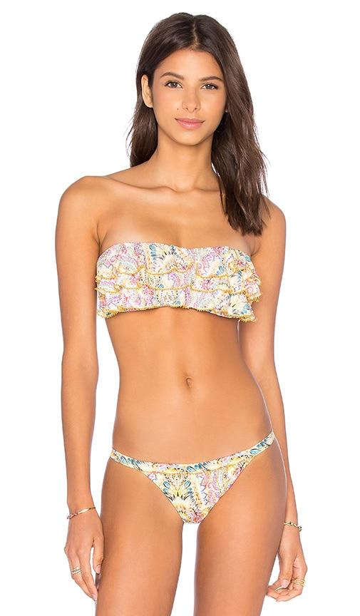 Embroidered Ruffle Bandeau Bikini Top