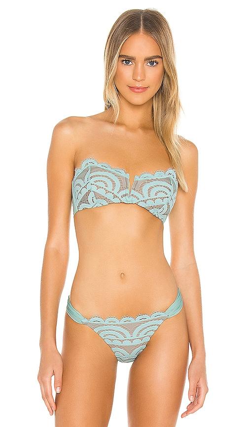 PQ V Lace Bandeau Bikini Top in Seafoam | REVOLVE