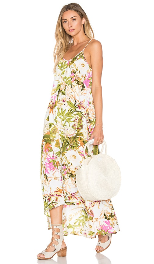Pink Stitch Resort Maxi Dress in Green