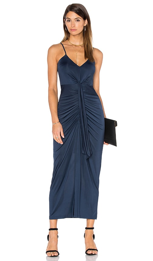 Pink Stitch Cascade Maxi Dress in Navy
