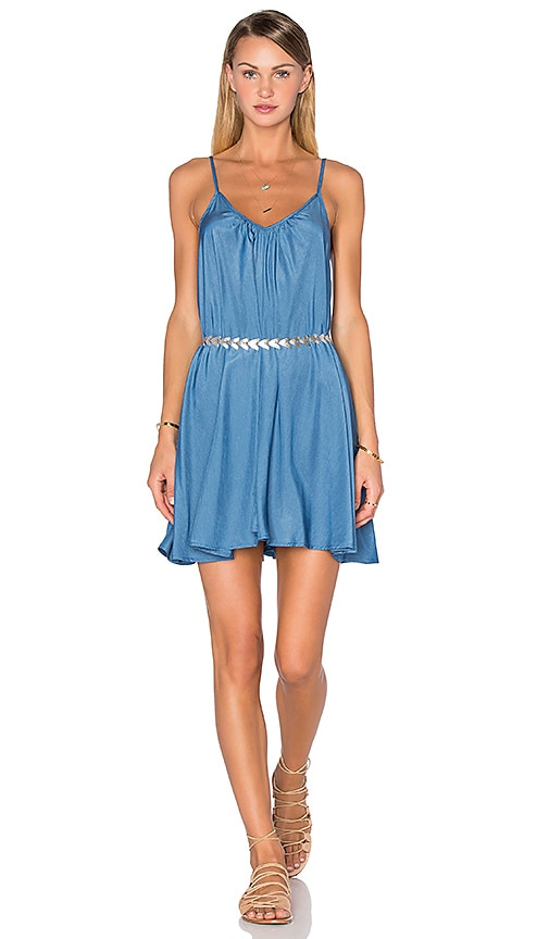 Pink Stitch Short Resort Dress in Blue