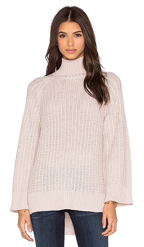 Pink Stitch Celine Turtleneck Sweater in Shell