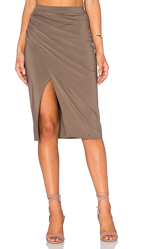 Pink Stitch Mabel Skirt in Taupe