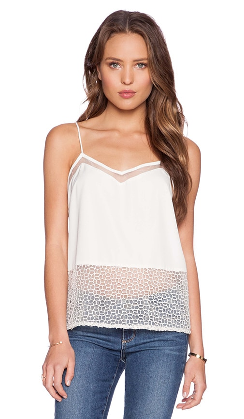 Pink Stitch Penelope Cami in White