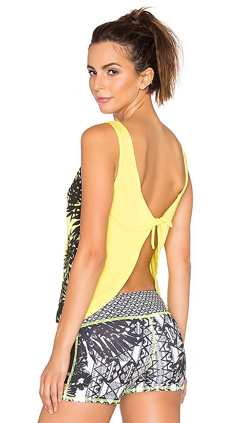 Pink Lotus Learn Tank with Tie Back in Yellow