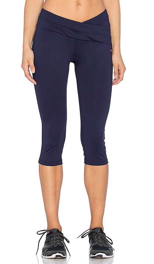 Pink Lotus Strength Wrap Front Legging in Deep Navy