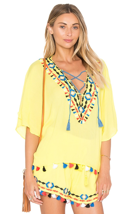 PIPER Java V Neck Top in Yellow