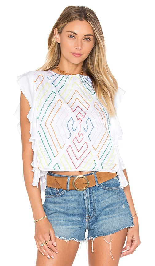 PIPER Bima Side Ruffle Top in White