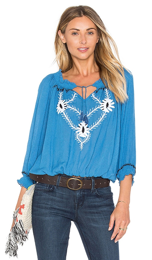 PIPER Sumatra Front Tie Long Sleeve Top in Periwinkle