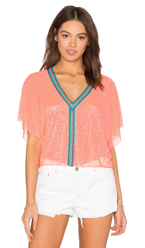 Pitusa Mini Crop Top in Coral