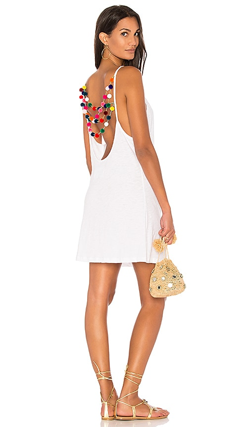 Pitusa Mini Pom Pom Dress in White