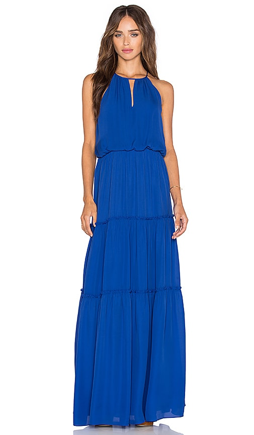 Parker Tudor Maxi Dress in Blue