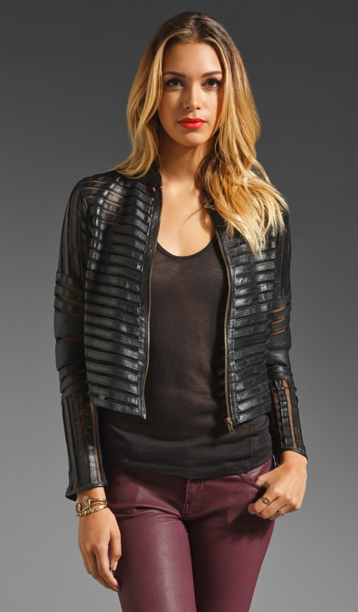 Leather Mesh Panel Jacket