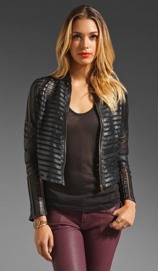 Leather Mesh Panel Jacket