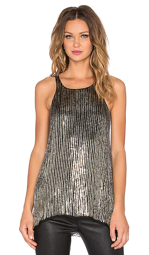 Parker Brody Sequin Top in Gold