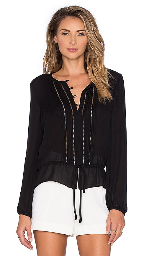 Parker Periwinkle Blouse in Black