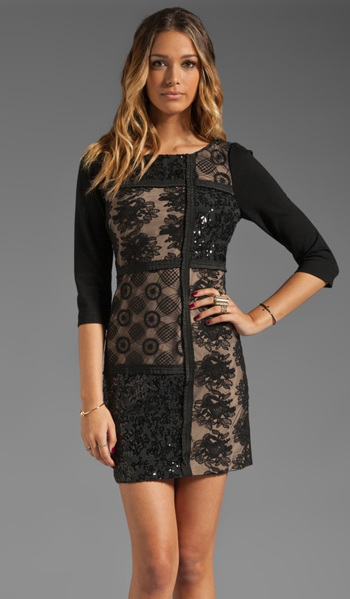 Patchwork Lace Front Shift Dress