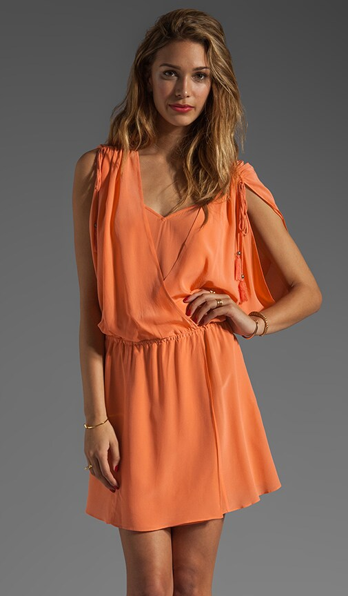 Crepe de Chine Draped Surplice Dress