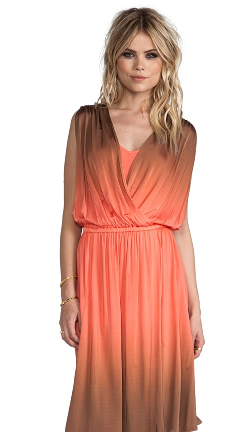 Dip Dyed Slinky Jersey Draped Surplice Dress